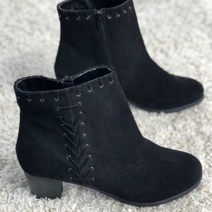 Matisse Black Suede Stellah Whipstitch Ankle Boot